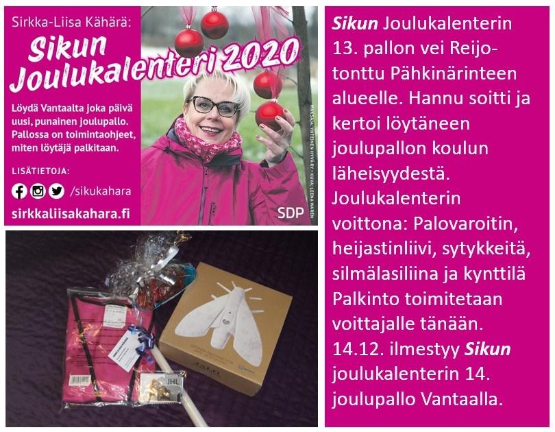 """Sirkka-Liisa """"Siku"""" Kähärän joulukalenteri 2020"""