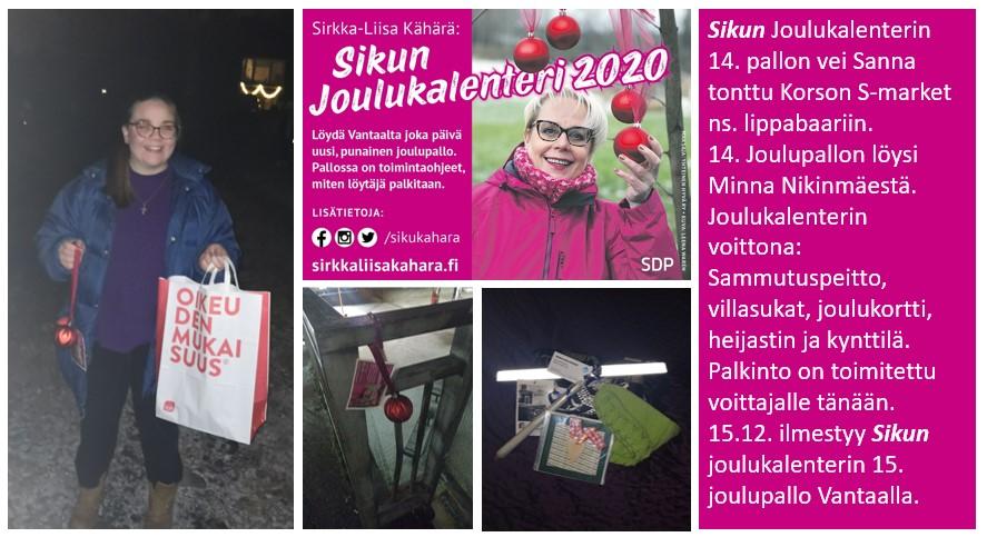 """Sirkka-Liisa """"Siku"""" Kähärän joulukalenteri hyvässä vauhdissa"""