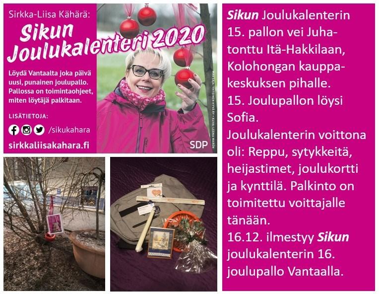 """Sirkka-Liisa """"Siku"""" Kähärän joulukalenterissa on vielä palloja jäljellä!"""