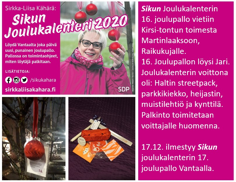 """Sirkka-Liisa """"Siku"""" Kähärän joulukalenteri yllättää positiivisesti!"""
