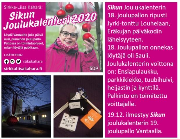 """Sirkka-Liisa """"Siku"""" Kähärän joulukalenterissa on vielä joulupalloja!"""