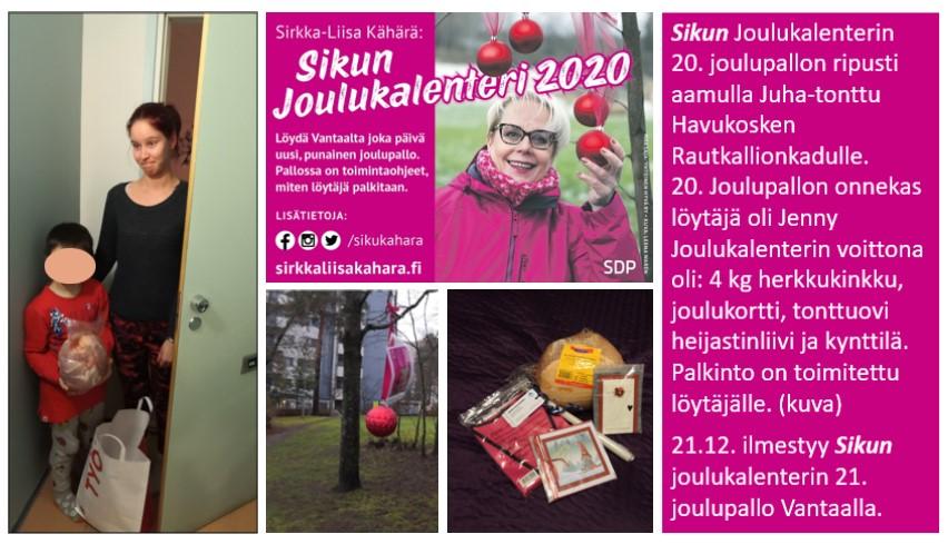 """Sirkka-Liisa """"Siku"""" Kähärän joulukalenterissa oli voittona  joulukinkku!"""