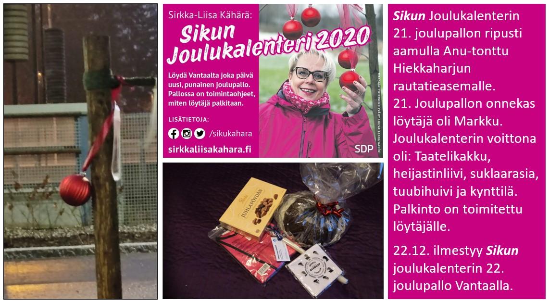 """Sirkka-Liisa """"Siku"""" Kähärän joulukalenterissa vielä muutama pallo jäljellä"""