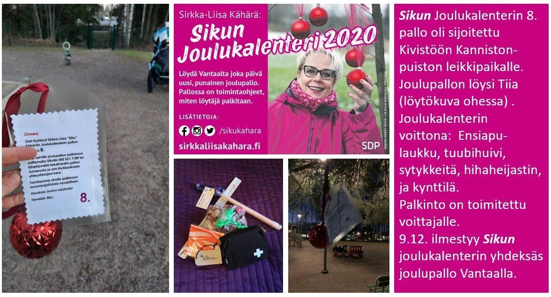 """Sirkka-Liisa """"Siku"""" Kähärän joulukalenterista löytämisen iloa!"""